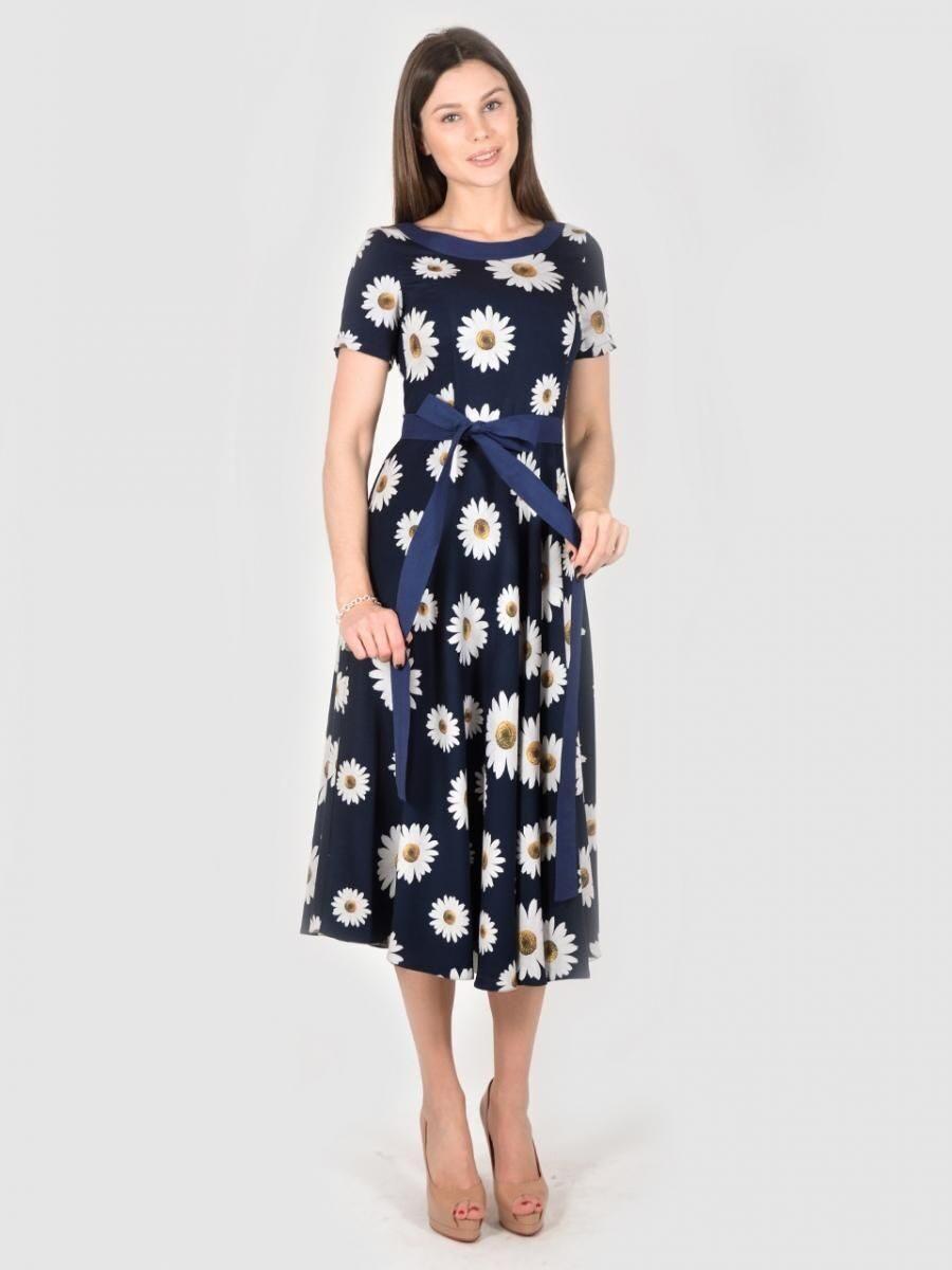 8cc46c4b145 Платье 1609 темно синего цвета в цветочек белую крупную ромашку ...