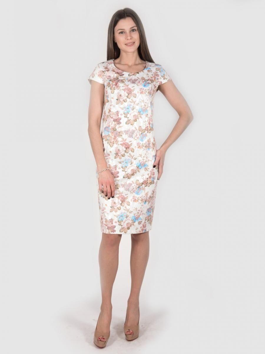 8713fa509ba Платье 1739 футляр из хлопка белого цвета с цветочным рисунком в ...