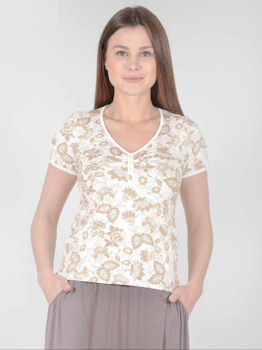 493eef59efd Трикотажная блузка 1824 светлая женская футболка молочного цвета с рисунком  в цветочек легкая летняя свободного покроя с короткими рукавами из вискозы  ...