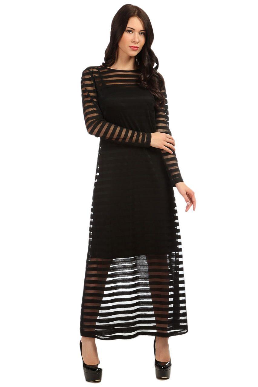 Платье с прозрачной юбкой и полосками